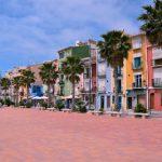 boulevard, gekleurde huizen, geel, blauw, rood, groen, Villajoyosa