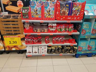 kerst, chocolade supermarkt