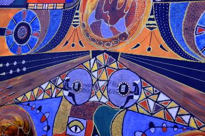 schilderij, op rommelmarkt, in Spanje, veel kleuren