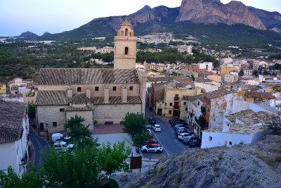 kerk, bergen, auto's, rotsen