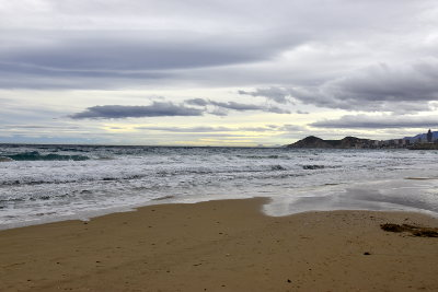 strand, Benidorm, wolken, zee, december