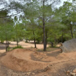 mountainbiken, bos, zand, rots, bomen