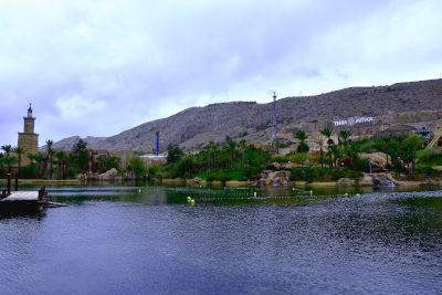 pretpark, water, lucht, achtbaan, bomen, attractie