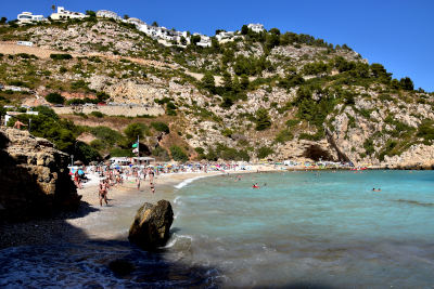 Javea, Granadella, strand, baai, blauw water, rotsen